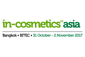 in-cosmetics Asia exhibition in Bangkok, Thailand on Oct31-Nov2, 2017